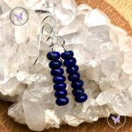 Lapis Lazuli Discs Drop Earrings